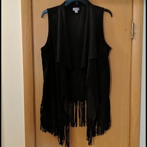 Decree Fringe Faux leather open front vest size XL